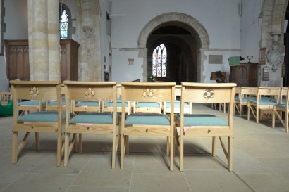 St Mary's Kirtlongton - close up of new chairs and floor